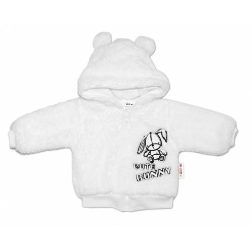 Baby Nellys Dojčenská chlupáčková bundička  s kapucňou Cute Bunny - biela - 56 (1-2m)