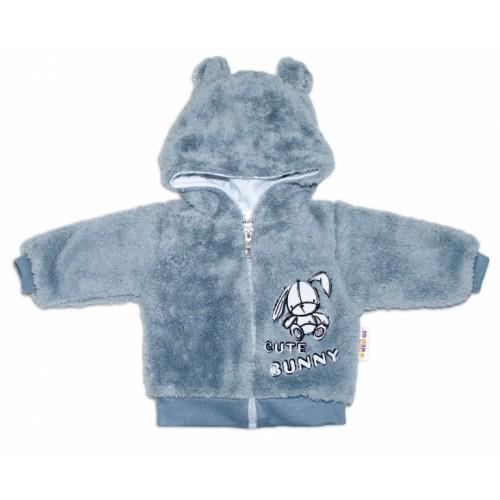Baby Nellys Dojčenská chlupáčková bundička  s kapucňou Cute Bunny - sivá - 56 (1-2m)