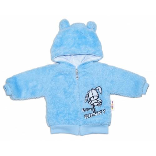 Baby Nellys Dojčenská chlupáčková bundička  s kapucňou Cute Bunny - modrá, veľ. 80 - 80 (9-12m)