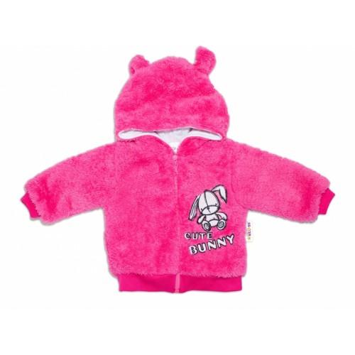 Baby Nellys Dojčenská chlupáčková bundička  s kapucňou Cute Bunny - malinová, veľ. 80 - 80 (9-12m)