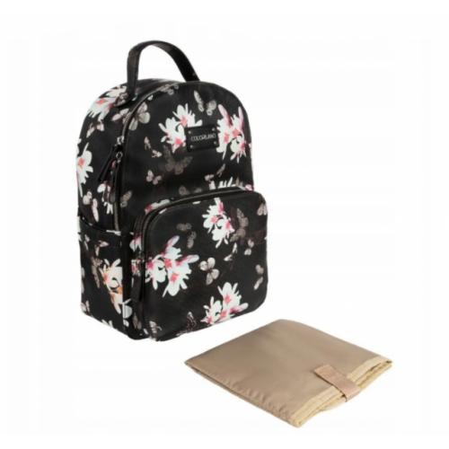 Canpol babies Prebaľovacia batoh ku kočíku Flower - čierny s potlačou