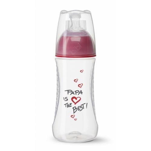 BIBI antikolikové fľaša, Papa is the best, 2 m+, 260 ml, červená