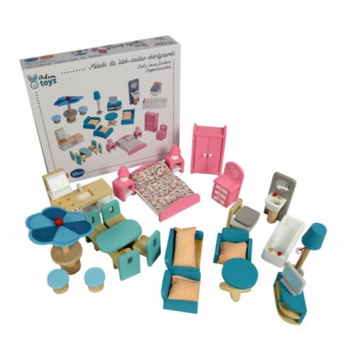 Adam Toys Drevený škandinávsky nábytok pre bábiky, pastelové farby