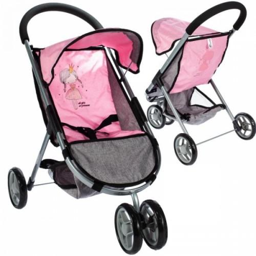 Tulimi Športový kočík pre bábiky Princezná - ružový, sivý