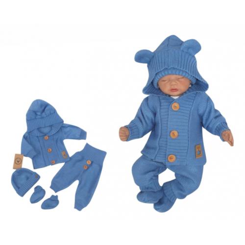 Z&Z 4-dielna kojenecká súpravička, kabátik, tepláčky, čiapočka a topánočky - jeans, veľ.74 - 74 (6-9m)