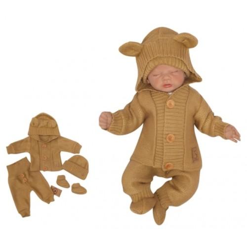 Z & Z 4-dielna kojenecká súpravička, kabátik, tepláčky, čiapočka a topánočky - medová - 56 (1-2m)