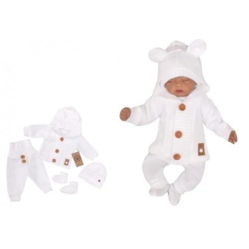 Z & Z 4-dielna kojenecká súpravička, kabátik, tepláčky, čiapočka a topánočky - biela - 56 (1-2m)