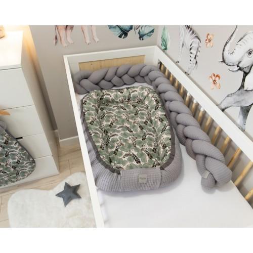 Baby Nellys Obojstranné hniezdočko, kokon Vafel, bavlna LUX, 60 x 90 cm - Žirafa - 60x90