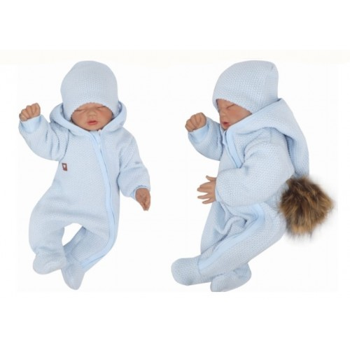 Z&Z Prechodová kombinéza s kapucňou a kožušinovou brmbolcom, modrá - 56 (1-2m)