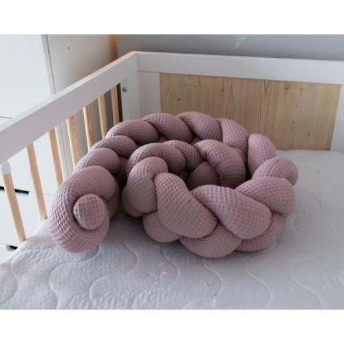 Baby Nellys Mantinel pletený vrkoč Vafel - Magnólia, 220 x 16 cm - 220x16