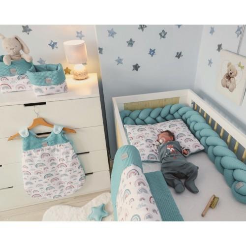 Baby Nellys 2-dielna súprava do postielki -Vafel,bavlna LUX, Dúha - mätová - 120x90