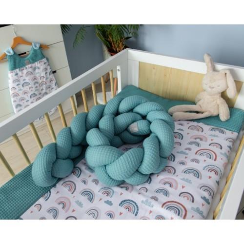 Baby Nellys Mantinel pletený vrkoč Vafel, Dúha - mätová, 320 x 16 cm - 320x16