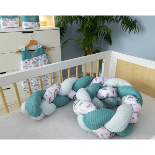 Baby Nellys Mantinel pletený vrkoč Vafel, bavlna LUX,  Dúha - mätová, 220 x 16 cm - 220x16