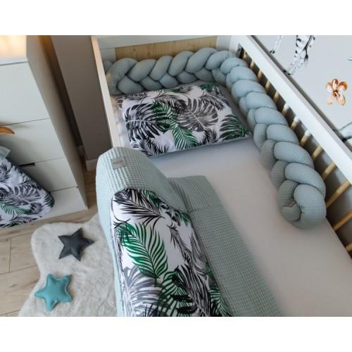 Baby Nellys 2-dielna súprava do postielky -Vafel, bavlna LUX, Listy, 135 x 100 cm - 135x100