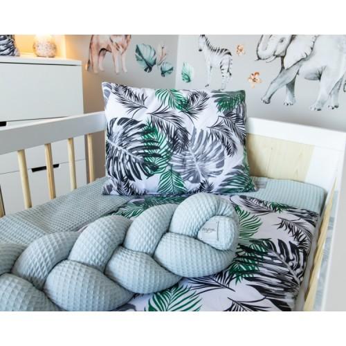 Baby Nellys Mantinel pletený vrkoč Vafel, Listy, 320 x 16 cm - 320x16