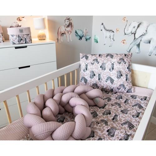 Baby Nellys Mantinel pletený vrkoč Vafel, Zebra, 220 x 16 cm - 220x16