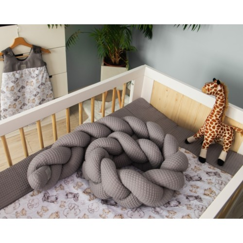 Baby Nellys Mantinel pletený vrkoč Vafel, Safari, 220 x 16 cm - 220x16
