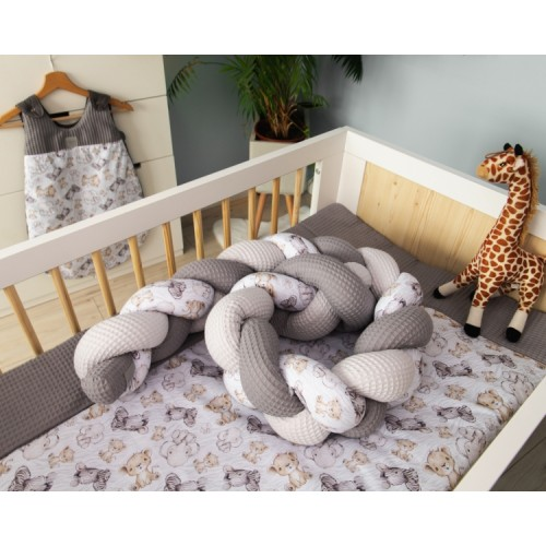 Baby Nellys Mantinel pletený vrkoč Vafel, bavlna LUX, Safari - 220 x 16 cm - 220x16