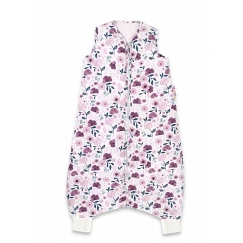 Baby Nellys, Spací vak s nohavičkami Lúčne kvietky, 90 cm - vínová