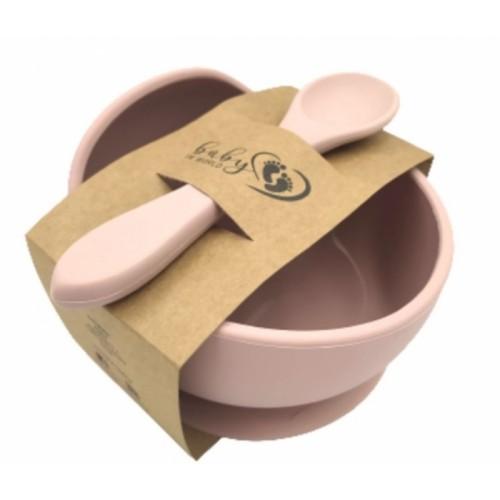 Baby in World Silikónová miska s prísavkou a lyžičkou - sv. ružová