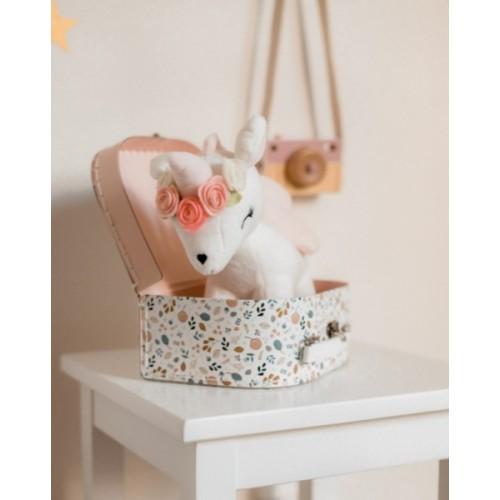 Plyšová srnka Metoo s kvetinkami bílo/růžový, 24 cm