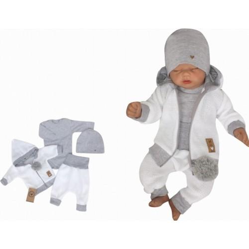 Z&Z 4-dielna pletená súpravička, kabátik, tepláčky, čiapočka a body, biela-šedá - 56 (1-2m)