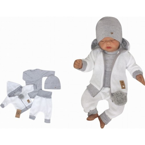 Z&Z 4-dielna pletená súpravička, kabátik, tepláčky, čiapočka a body, biela-šedá, veľ. 62 - 62 (2-3m)