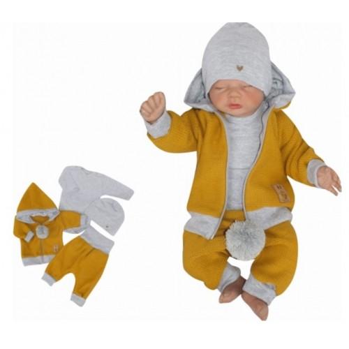 Z&Z 4-dielna pletená súpravička, kabátik, tepláčky, čiapočka a body, horčicová-šedá,vel.62 - 62 (2-3m)