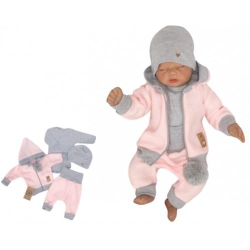 Z&Z 4-dielna pletená súpravička, kabátik, tepláčky, čiapočka a body, ružová-šedá - 56 (1-2m)