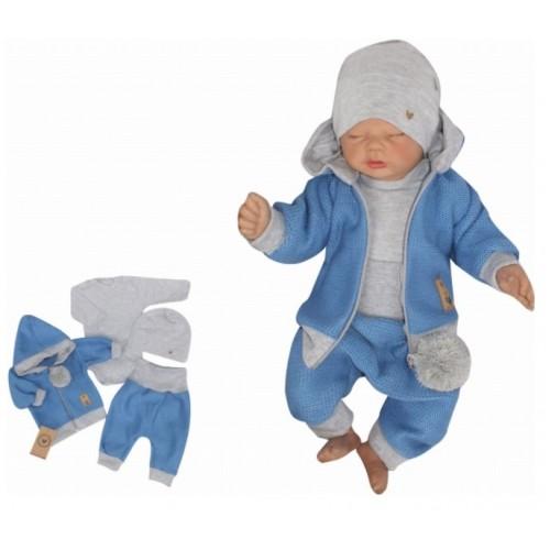 Z&Z 4-dielna pletená súpravička, kabátik, tepláčky, čiapočka a body, modrá-šedá - 56 (1-2m)