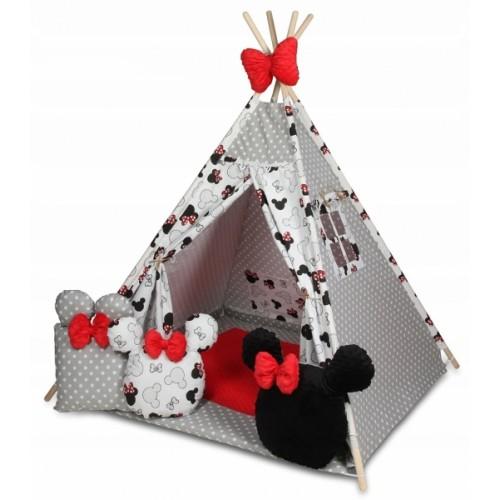 Baby Nellys Stan pro děti týpí s velkou výbavou, Minnie, biela, čierna, červená