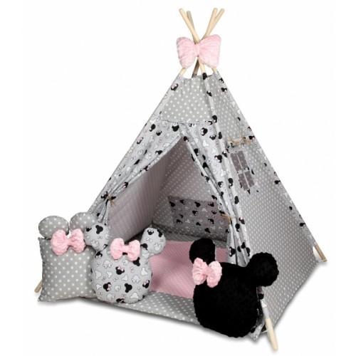 Baby Nellys Stan pro děti týpí s velkou výbavou, Minnie, šedá, čierna, růžová