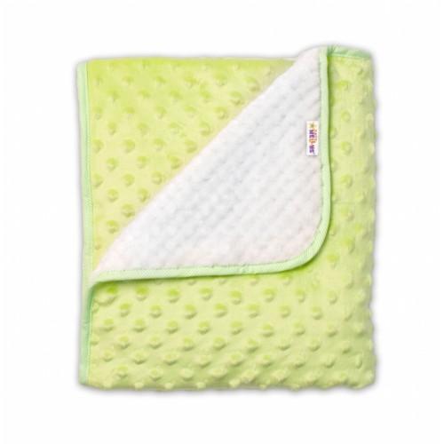 Baby Nellys Detská luxusná obojstranná deka s Minky 80x90 cm, zelená/krémová