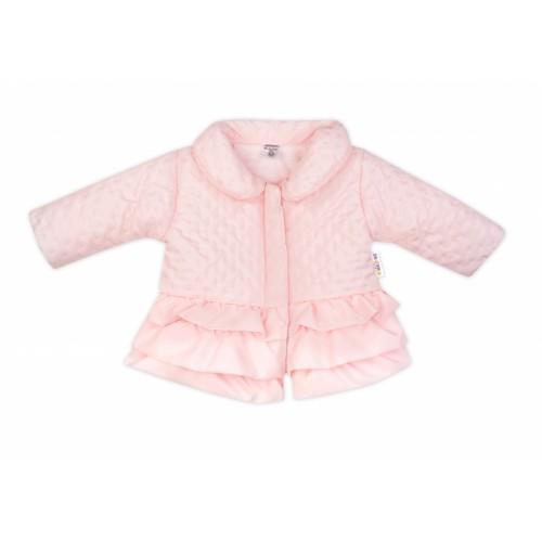 Baby Nellys Detská prechodová bundička s volánikmi, svetlo ružová, veľ. 80 - 80 (9-12m)