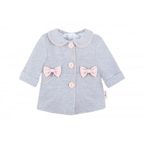 Baby Nellys Detský bavlnený kabátik s mašličkami, sivý, veľ. 86 - 86 (12-18m)