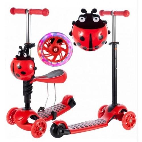 Tulimi Detská kolobežka 2v1 Ladybird, červená