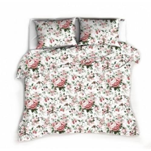 Baby Nellys Bavlněné obliečky 140 x 200 - Ruže, biela - 140x200/70x80cm