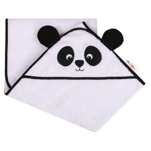 Baby Nellys Froté osuška s kapucňou 100x100cm Panda - biela