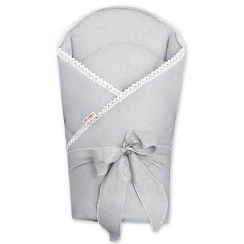 Baby Nellys Luxusní zavinovačka s výztužou 80 x 80 cm a stuhou - Royal Baby, sivá