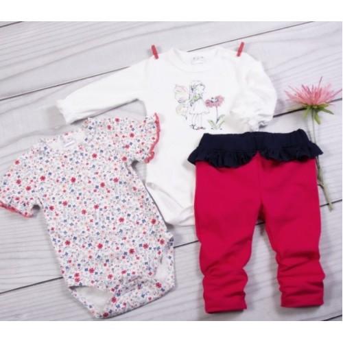 K-Baby 3 dielna sada - 2x body dlhý a krátký rukáv, legínky s volánikom - Motýlek, veľ. 80 - 80 (9-12m)