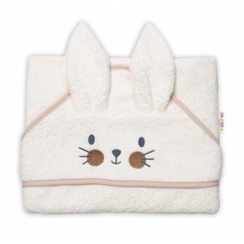 Baby Nellys Froté osuška s kapucňou 80 x 80 cm Bunny - smotanová