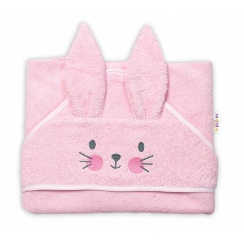 Baby Nellys Froté osuška s kapucňou 80 x 80 cm Bunny - ružová
