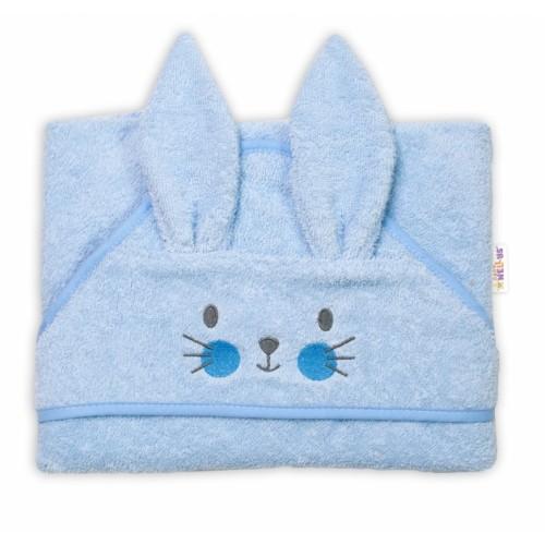 Baby Nellys Froté osuška s kapucňou 80 x 80 cm Bunny - modrá