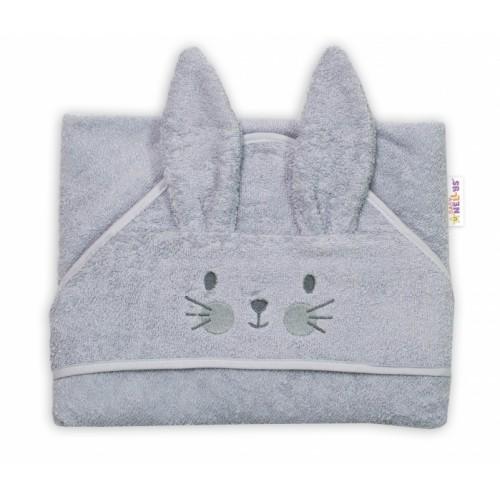 Baby Nellys Froté osuška s kapucňou 80 x 80 cm Bunny - sivá
