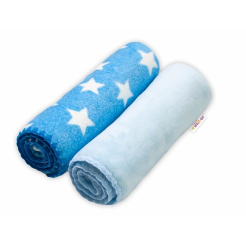 Baby Nellys Detská Coral deka - Dual pack, 80x90 cm, Hviezdička, modrá