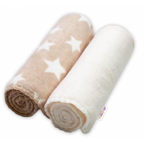 Baby Nellys Detská Coral deka - Dual pack, 80x90 cm, Hviezdička, ecru