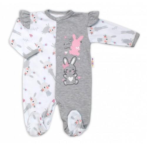 Baby Nellys Bavlnený dojčenský overal s volánkmi Cute Bunny - sivý - 56 (1-2m)