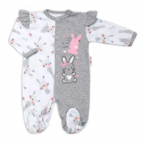Baby Nellys Bavlnený dojčenský overal s volánkmi Cute Bunny - sivý, veľ. 68 - 68 (4-6m)