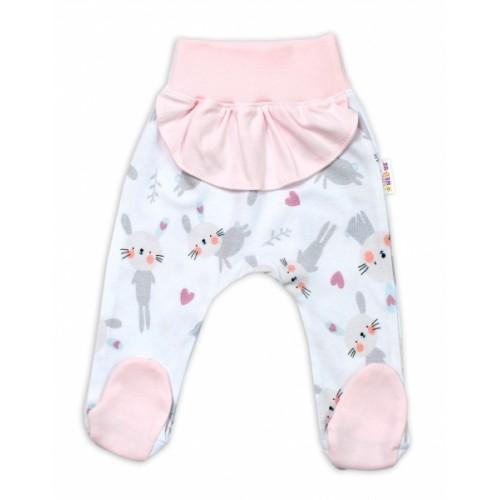 Baby Nellys Bavlnené dojčenské polodupačky, Cute Bunny - ružové, veľ. 74 - 74 (6-9m)