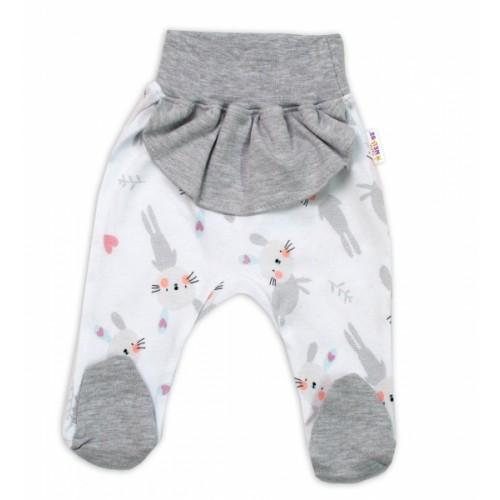 Baby Nellys Bavlnené dojčenské polodupačky, Cute Bunny - sivé, veľ. 74 - 74 (6-9m)